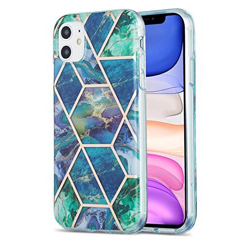 Fundas para iPhone 11 (6.1 pulgadas), caso de TPU con patrón de mármol (azul-verde)