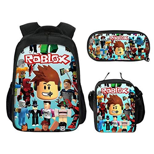 Mochila Roblox con lonchera y Estuche para lápices, Mochila para Estudiantes Mochila para portátil Mochila para computadora Bolsa de Viaje para niños Niños Niñas Adolescentes (Color 4)