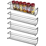 Set of 4 Wall Mount Spice Rack Organizer for Kitchen Cabinet Door or Pantry (Silver)