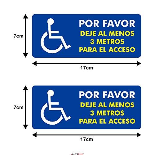 Autodomy Pegatinas Discapacitado Minusválido por Favor Dejé al Menos 3 Metros para el Acceso Pack 2 Unidades para Coche Furgoneta Camión (Uso Interno)