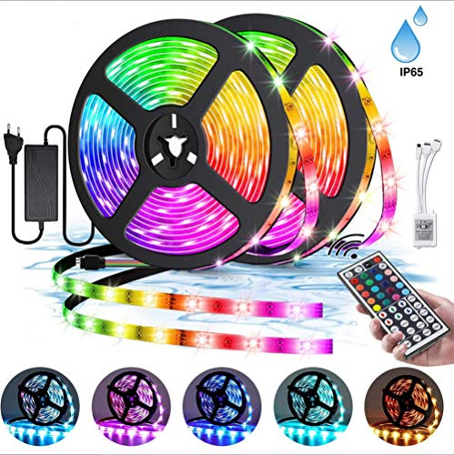 Meirrai LED Strips Lights 10M 300LEDs 5050 RGB Color Changing Lighting Strip, DIY LED verlichting met 44-toetsen afstandsbediening Decoratie voor Garden Living Room Wedding Party, IP65 waterdicht