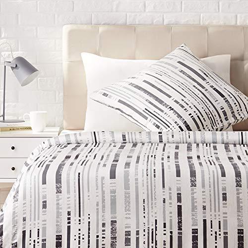 Amazon Basics - Juego de ropa de cama con funda de edredón, de satén, 135 x200 cm / 80 x 80 cm x 1, Gris a rayas texturizado