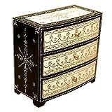 Casa Moro Orientalische Mini-Kommode handbemaltes Holz-Kästchen Akila mit 3 Schubladen 23x12x21 cm (B/T/H) Originelle Geschenk-Idee für die Dame Freundin Frau zu Weihnachten | MA50-08