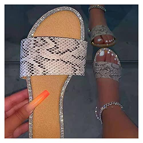 QinQinYuJi Frauen Leopard Hausschuhe Damen Glitter Kristall Casual Flache weibliche offene Toe Rutschen Frauen Schlange Sommerschuhe Plus Größe (Farbe : Snake Pattern, Shoe Size : 9.5)