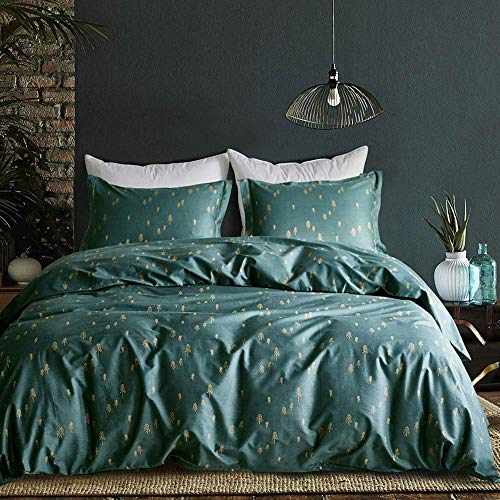 mixinni 3 Pieces Duvet Cover Set, 100% Natural Cotton,Gold...