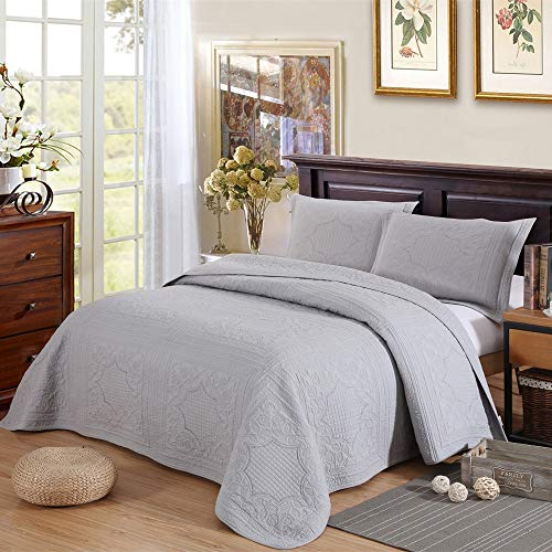 Qucover Unimall gesteppt Tagesdecke Baumwolle Sofaüberwurf mit großartig kariert Muster inkl. 2 Kissenbezüge 230 x 250cm, Grau