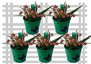 Royal Baskets Round 1 Butterfly Dotted Railing Planter / Plant pots (Green, Pack of 5)…