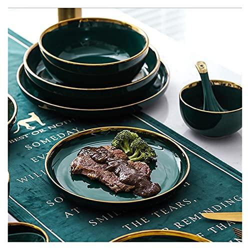 Xu Yuan Jia-Shop Platos Llanos Verde Cerámica Oro Inlay Placa Steak Placa de Comida Estilo Vajilla Tazón Postre Plato Plato Plato Set Platos de Comida (Color : B.3.5 Inch Plate)