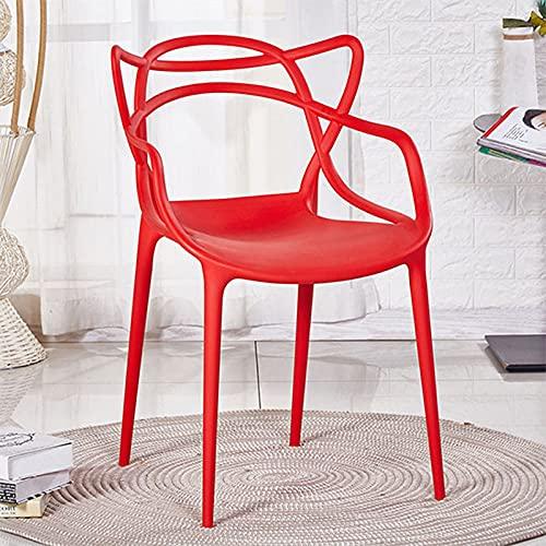 WellingA Juego sillas Comedor Modernas de 4 Piezas Silla jardín al Aire Libre, Silla Patio, sillón Oficina, apilable,Rojo
