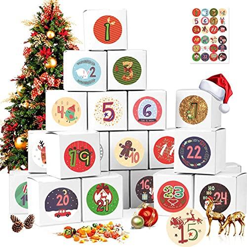 GGW 24 Piezas Caja De Calendario De Adviento De Navidad con Pegatinas De Números Cajas De Regalo De Adviento De Navidad Caja De Cuenta Regresiva De Navidad Regalo De Papel Kraft Cajas De Dulces
