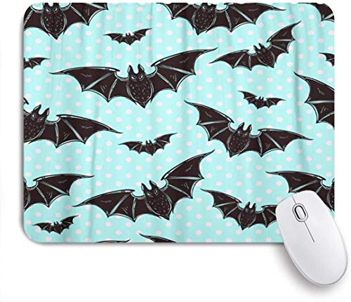 GEEVOSUN Mouse Pad Colorful Goth Halloween Pattern Bats Holiday Symbols Cute Gothic Customized Art Mousepad Non-Slip Rubber Base for Computers Laptop Office Desk Accessories