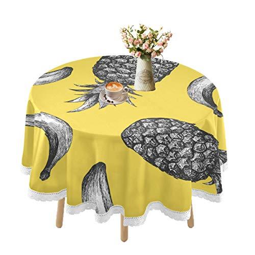 Mantel impermeable para mesas redondas, plátano, piña, verano, amarillo, mantel de encaje para mesa al aire libre, mesa de comedor, rústico, fiestas, vacaciones, cocina, 152 cm