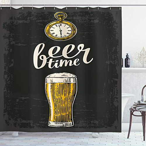 ABAKUHAUS Modern Douchegordijn, Tijd van het bier en oud horloge, stoffen badkamerdecoratieset met haakjes, 175 x 200 cm, Donker Groen Geel Cream