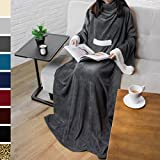 PAVILIA Deluxe Fleece Blanket with Sleeves for Adult, Men, and Women| Elegant, Cozy, Warm, Extr…