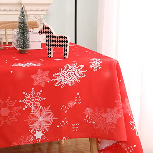 MIKI Christmas Rectangle Table Cloth - Waterproof, Wrinkle Resistant and Washable Holiday Xmas Tablecloth Decorative Table Cover for Outdoor, Indoor Party Kitchen Dining Room, 60 x 84 Inch, 160GSM