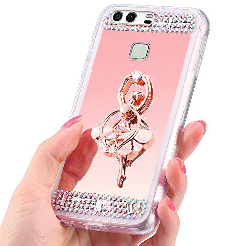 QPOLLY Kompatibel mit Huawei P9 Plus Hülle Silikon Glänzend Glitzer Spiegel Überzug Mirror Case Ring Ständer Kristall Diamant Silikon TPU Handyhülle für Huawei P9 Plus,Mädchen/Rose Gold