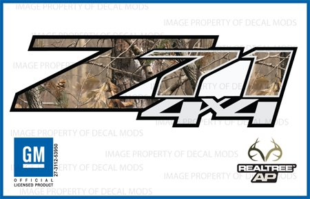 Decal Mods Chevy Silverado Realtree AP Z71 4x4 Decals Stickers - AP (2007-2013) Bed Side 1500 2500 HD (Set of 2) [Officially Licensed, Made in The USA, Brand