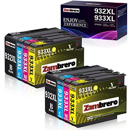 Zambrero 932 933 Ersatz für HP 932XL 933XL Multipack Druckerpatronen Hohe Kapazität Kompatibel mit HP Officejet 6600 6700 6100 7510 7610 7612 7110 Drucker (2BK, 2C, 2M, 2Y)
