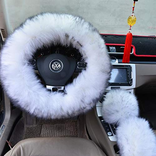 Ogrmar Winter Warm Faux Wool Steering Wheel Cover with Handbrake Cover & Gear Shift Cover for 14.96' X 14.96' Steeling Wheel in Diameter 1 Set 3 Pcs (White and Gray)