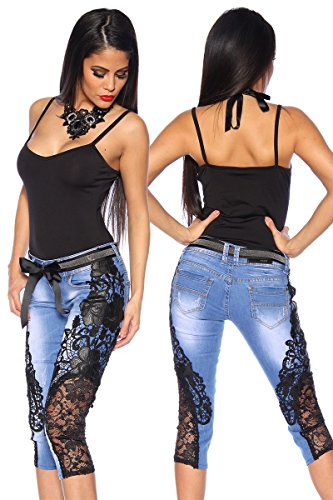Atixo Capri-jeans met kant - blauw/zwart