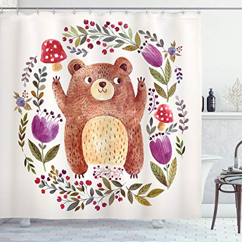 Ambesonne Watercolor Flower Shower Curtain, Illustration of Happy Little Bear in Frame of Flowers Mushrooms Wreath, Cloth Fabric Bathroom Decor Set with Hooks, 75' Long, Purple Green