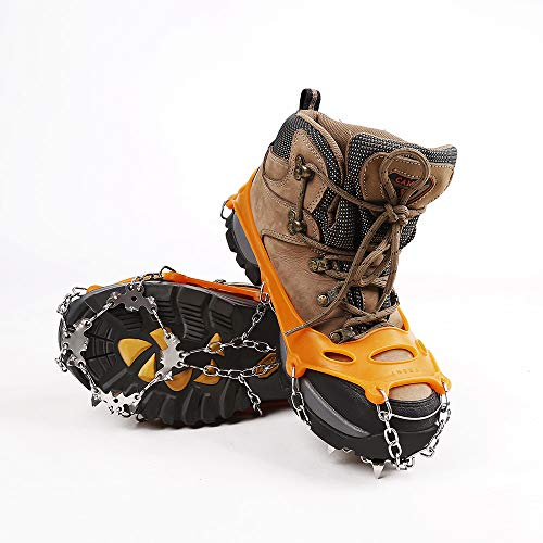 Hewolf Crampons for Hiking Boots Durable Traction Cleats for Walking on Ice and Snow