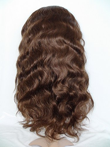 High-Quanlity Front Lace Wig Real With Stretch Lace Back Mongolian Virgin Remy Human Hair Body Wave Color #4(trademark:DaJun)
