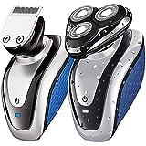 Afeitadora Eléctrica para Hombres, Maquinilla De Afeitar Flotante 3D 2 en 1 con 3 Cabezas De Afeitar, Afeitadoras Rotativas Inalámbricas en Seco y Húmedo