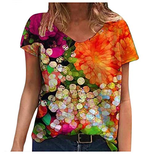FNKDOR Womens Sexy V-Neck Cotton Blouse Short Sleeve Elegant Floral Print Women Casual Summer T Shirt Tops