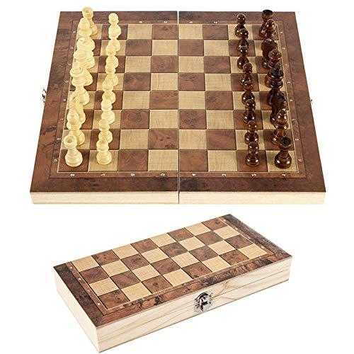 Riyyow 3 en 1 Juego de ajedrez Partidor de ajedrez de Viaje Plegable Juego de Backgammon Juego de ajedrez Plegable de Madera para Adultos para niños Principiantes (Size : 39 * 39cm)