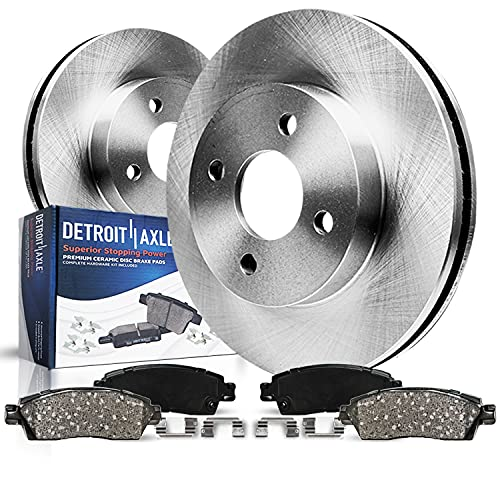Detroit Axle - 258mm FRONT Disc Rotors + Ceramic Brake Pads Replacement for...