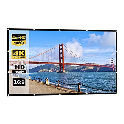 16:9 HDムービースクリーン、折り畳み式ポータブルプロジェクター映画スクリーンサポート250インチの家、パーティー、オフィス、教室の両面投影