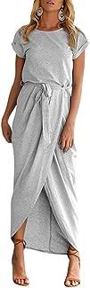 Tall Ladies Plain Floor Length Maxi Dress XS-3XL Cotton Blended O Neck Cap Sleeve Front Slit