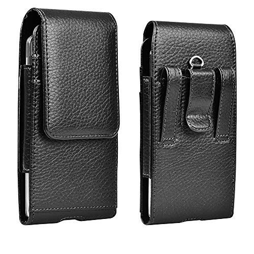 Cell Phone Holster Pouch Leather Wallet Case with Belt Loop for iPhone Samsung (Leather)