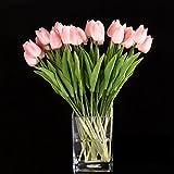 Nirmon 10pcs Flor del Tulipan De Latex del Tacto por Ramo De La Mejor Calidad Real para Decorar De La Boda (Tulipan Rosa)