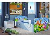 Kocot Kids Kinderbett Jugendbett 70x140 80x160 80x180 Blau mit Rausfallschutz Matratze Schublade und Lattenrost Kinderbetten für Junge - Safari 140 cm