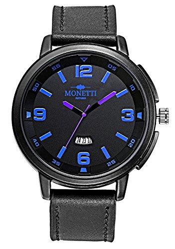 Orologio da uomo MONETTI-FUTURO con cinturino in pelle nera in un design futuristico in un regalo!