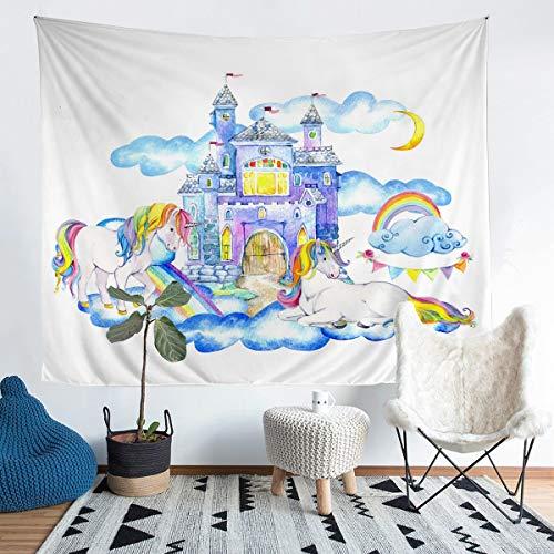 Tapiz para colgar en la pared, diseño de unicornio de acuarela, para niños, adolescentes, castillo de princesa, azul con temática de cuento de hadas, para dormitorio, sala de estar, 152 x 224 cm