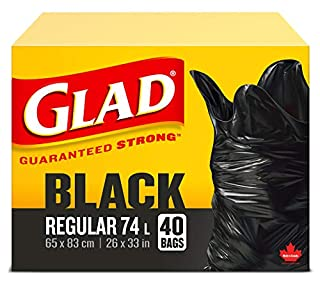 Glad Black Garbage Bags - Regular 74 Litres - 40 Trash Bags (B003THHSJC) | Amazon price tracker / tracking, Amazon price history charts, Amazon price watches, Amazon price drop alerts