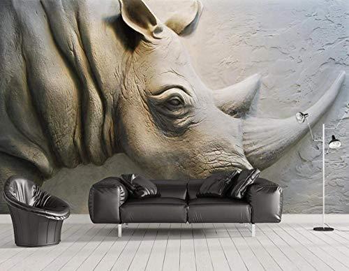 Fototapete Geprägtes Nashorn 3D Tapete Vliestapete 3D Effekt Fototapeten Wanddeko Wandbilder Wohnzimmer,150cmX105cm