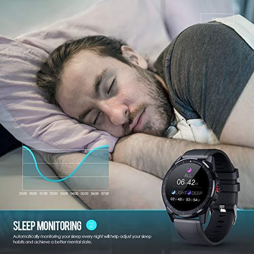 GOKOO Reloj Inteligente Hombre Smartwatch Deportivo Rastreador Actividad Reloj Inteligente Pantalla Táctil Completa Entrenamiento Respiratorio IP68 Impermeable Compatible con Android iOS (Gris) miniatura