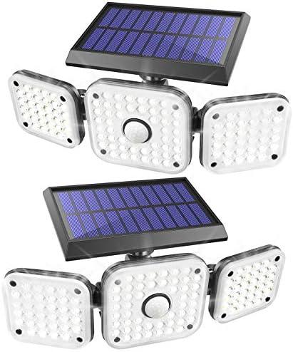 JOMARTO Solar Motion Lights Outdoor 3 Head Security Lights with Motion Sensor Adjustable 112 product image