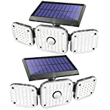 JOMARTO Solar Motion Lights Outdoor,3 Head Security Lights with Motion Sensor,Adjustable 112 LED Flood Lights Waterproof270° Wide Angle Security Lights for Porch Garden Patio Yard Backyard (2PCS)
