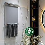 Kibath L468503 Toallero Secatoallas eléctrico de mural ENZ de gran superficie vertical con dos barras para toallas. De bajo consumo 120W, fabricado en aluminio con acabado gris cepillado, Blanco