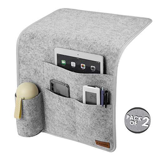 Homfa 2X Betttasche Sofatasche für Armlehne Sofa Organizer Nachttisch Tasche Anti-Rutsch Set Filz Grau