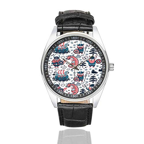 InterestPrint Cartoon Vikings Dragon Men's Casual Black Leather Strap Watches Waterproof Wrist Watch