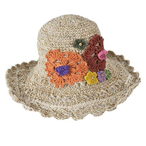 TATTOPANI Breit Kniited Sommer häkeln hanf Baumwolle mischen Hut mit bunt gestrickt Blume-DT-HAT-103NRL
