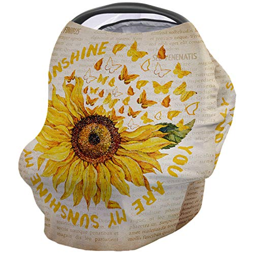 Lowest Prices! Rustic Sunflower Nursing Cover for Baby Breastfeeding, Soft Breathable Stretchy Carse...