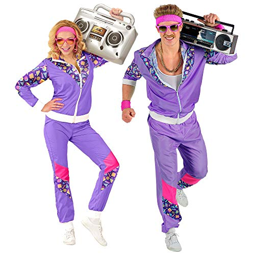 Widmann 00203 - Kostüm 80er Jahre Trainingsanzug, Jacke und Hose, angenehmer Tragekomfort, Assi Anzug, Proll Anzug, Retro Style, Bad Taste Party, 80ties, Karneval