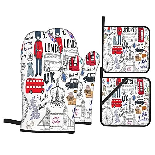 Juego de 4 Guantes de Horno y agarraderas,Decker Bus Cabina Telefónica Cabina Corona del Reino Unido Big Ben,Utilizado para cocinar,Hornear y Asar a la Parrilla